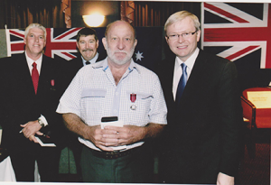 Fred received his Australian Defence Medal from Prime Minister Kevin Rudd, 2009 Source: Fred Clark