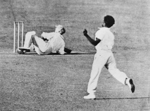 Eddie Gilbert bowling to Sir Donald Bradman during a NSW v Qld Brisbane 1931 SLQ Image 33595 (2)